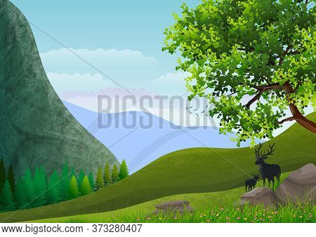 Pictorial Illustration. Green Hills And Mountain Landscape Against A Blue Sky.