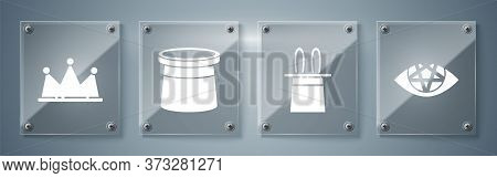 Set Pentagram, Magician Hat And Rabbit Ears, Magician Hat And Crown. Square Glass Panels. Vector