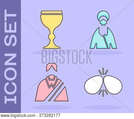 Set Easter Eggs, Wine Glass, Jesus Christ And Jesus Christ Icon. Vector