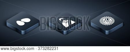 Set Isometric Easter Eggs, Easter Egg In A Wicker Nest And Jesus Christ Icon. Vector