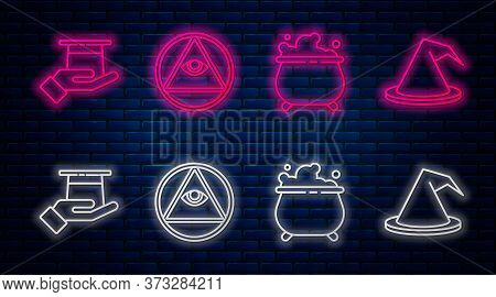 Set Line Masons, Witch Cauldron, Magician Hat In Hand And Witch Hat. Glowing Neon Icon On Brick Wall