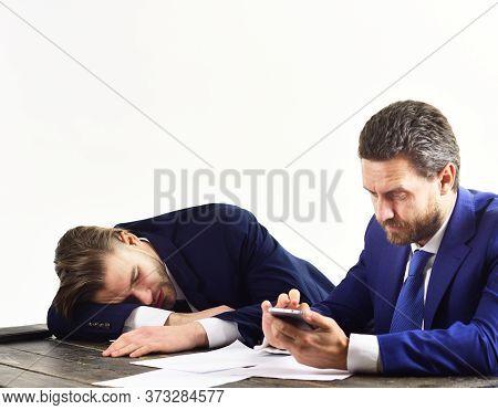 Overworked Office Worker Lie On Desk. Workaholic, Deadline Concept.