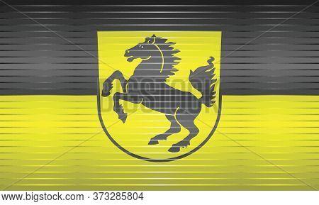 Shiny Grunge Flag Of The Stuttgart - Illustration,  Three Dimensional Flag Of Stuttgart