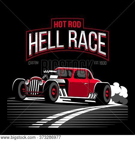 Vintage Red Hot Rod Custom Car Vector Illustration