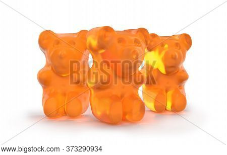 Gummy Bears Candy. Delicious, Chewy Jelly Orange Bears. Yummy Gelatin Candy. 3d Rendering. Isolated