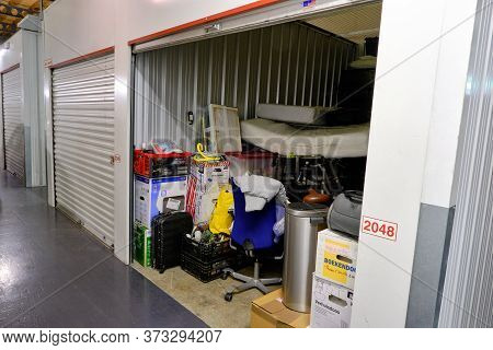 Amersfoort, The Netherlands, June, 20, 2020:indoor Storage Unit With Open Door And Household Goods I