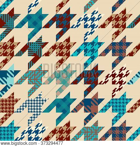 Classic Hounds-tooth Pattern In A Patchwork Collage Style.