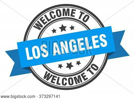 Los Angeles Stamp. Welcome To Los Angeles Blue Sign