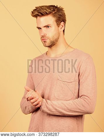 Guy Bristle Wear Casual Outfit. Fashion Concept. Clothes Shop. Discover Latest Styles Of Long Sleeve