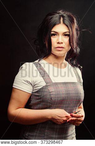 Beauty And Fashion. Professional Beautician In Beauty Salon. Pretty Woman Eyelash Master Hold Tweeze