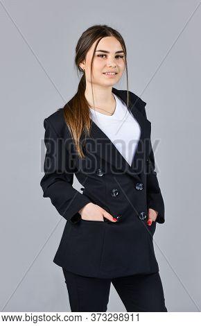 Hairdresser Beauty Salon. Cute Girl Has Long Hair. Female Autumn Fashion. Style For Real Woman. Wear
