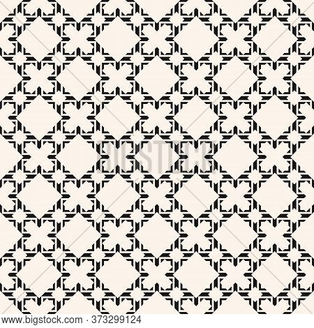 Vector Abstract Geometric Seamless Pattern In Asian Style. Elegant Black And White Ornament. Luxury