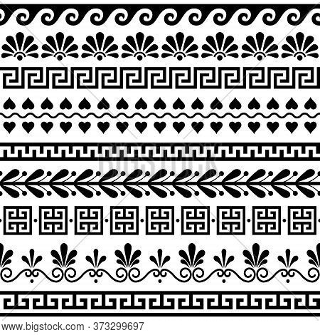 Greek Seamless Vector Pattern Set - Ancient Floral And Geometric Ornament, Key Pattern In Black And