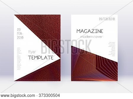 Triangle Cover Design Template Set. Orange Abstract Lines On Wine Red Background. Incredible Cover D