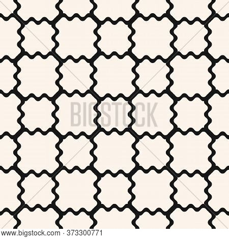 Mesh Seamless Pattern With Thin Wavy Lines. Texture Of Lace, Weaving, Smooth Lattice, Grid, Net, Fen