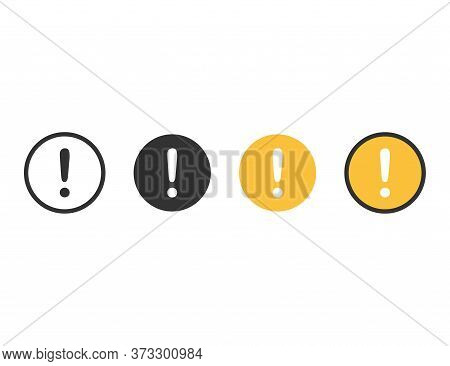 Exclamation Mark Icons. Caution Sign In Circle With Black, White And Yellow Colors. Transparent Outl
