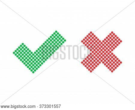 Checkmark And Cross Icons. Red And Green Positive And Negative Answer. Correct And Incorrect Sign. Y