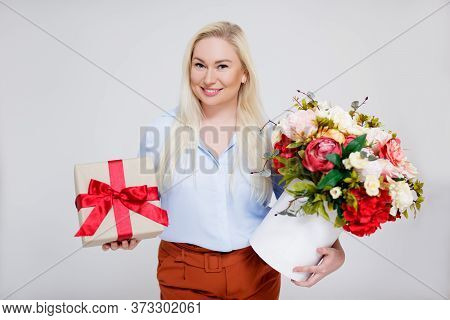 Valentine's Day Or Women's Day Concept - Portrait Of Surprised Beautiful And Elegant Plus Size Blond
