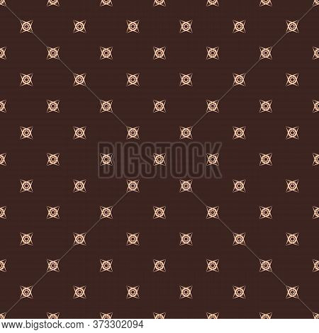 Vector Minimalist Background. Subtle Geometric Seamless Pattern With Small Floral Shapes, Crosses. S