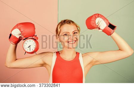 Punctuality And Personal Efficiency. Time Management Skills. Battle For Self Discipline. Woman Holdi
