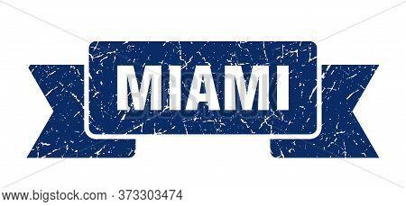 Miami Ribbon. Blue Miami Grunge Band Sign
