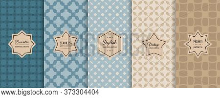 Vector Geometric Seamless Patterns Collection. Bright Retro Backgrounds With Elegant Minimal Sticker