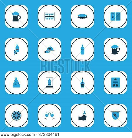 Beverages Icons Colored Set With Lemon, Poster, Stand With Glasses Brochure Elements. Isolated Vecto