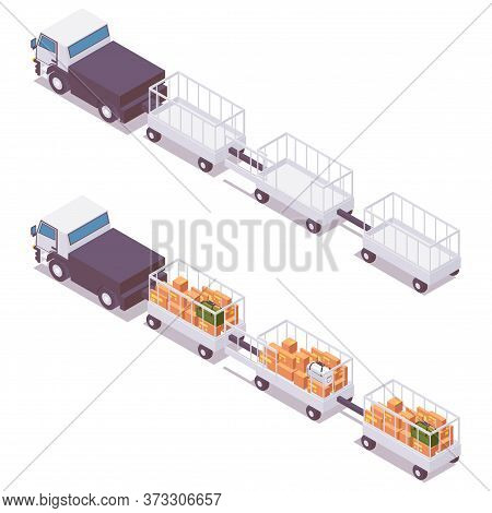 Isometric Set Airport Luggage Trolley With A Car For Luggage Of Parcels, Cargo, Baggage To An Airpla