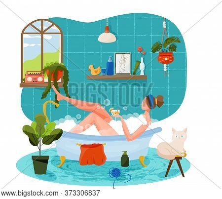 Vector Illustration In Flat Cartoon Style With Girl Taking Bath Holding A Glass Of Cocktail. Concept
