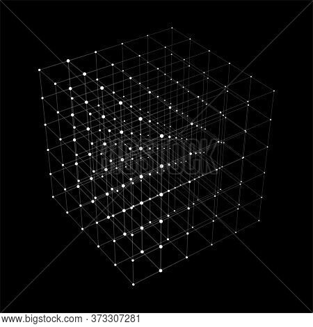 Abstract Background With Cube. Vector Illustration. Technology Shape With Lines And Dots. Futuristic