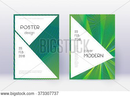 Stylish Cover Design Template Set. Green Abstract Lines On Dark Background. Fancy Cover Design. Cute