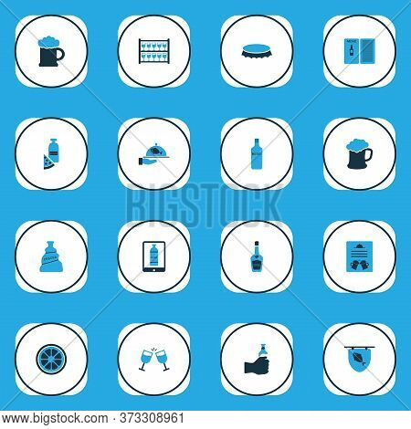 Beverages Icons Colored Set With Lemon, Poster, Stand With Glasses Brochure Elements. Isolated Illus