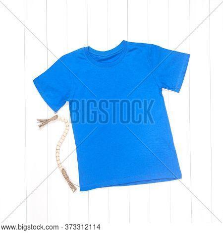 Blue T-shirt Mockup On White Background, Adult T-shirt, Blank Shirt Photo