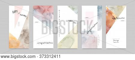 Set Of Hand-painted Watercolor Card Layouts And Notes. Suitable For Use As A Card; Greeting, Invitat