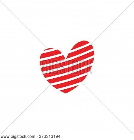 Raster Heart Icon Or Logo Concept Isolated On White