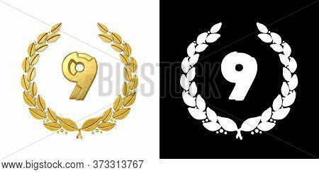 Gold Number 9 (number Nine) With Laurel Branch With Alpha Channel. 3d Illustration