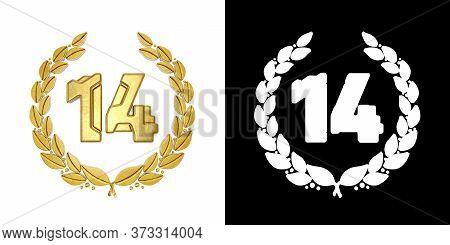 Gold Number 14 (number Fourteen) With Laurel Branch With Alpha Channel. 3d Illustration