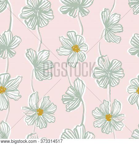 Flower Strings Seamless Vector Pattern. Strings Of Bloomed Flowers Hanging Vertically In Pastel Pink