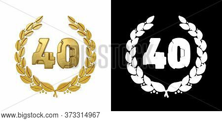 Gold Number 40 (number Forty) With Laurel Branch With Alpha Channel. 3d Illustration