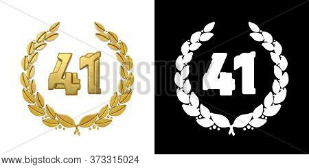 Gold Number 41 (number Forty-one) With Laurel Branch With Alpha Channel. 3d Illustration