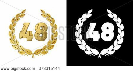 Gold Number 48 (number Forty-eight) With Laurel Branch With Alpha Channel. 3d Illustration