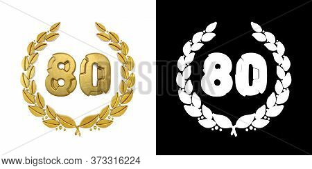 Gold Number 80 (number Eighty) With Laurel Branch With Alpha Channel. 3d Illustration