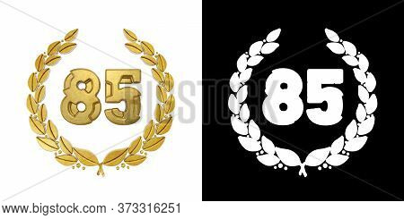 Gold Number 85 (number Eighty-five) With Laurel Branch With Alpha Channel. 3d Illustration