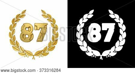 Gold Number 87 (number Eighty-seven) With Laurel Branch With Alpha Channel. 3d Illustration