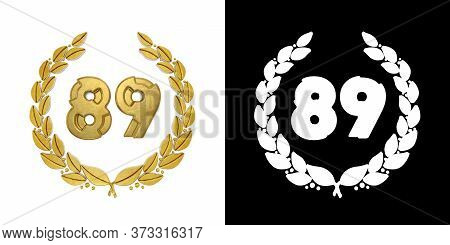 Gold Number 89 (number Eighty-nine) With Laurel Branch With Alpha Channel. 3d Illustration