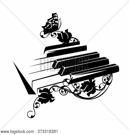 Piano Keys With Rose Flowers And Butterfly - Classical Music And Nature Harmony Black And White Vect