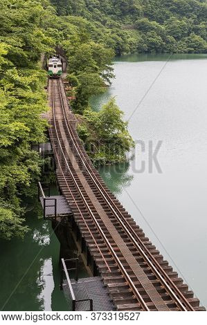 Fukushima , Japan - June 19 : The Local Train Tadami Line And Tadami River On June 18 , 2017 In Fuku