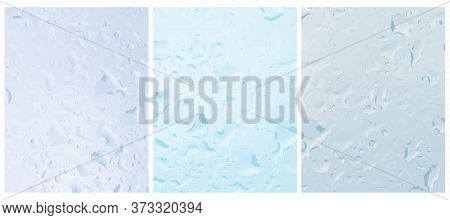 Simple Vector Layout With Rain Drops Flowing Down The Glass. Blue Water Drops. Wet Glass. Window Gla
