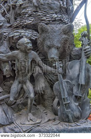 The Heroes Of Krylov's Fables, On The Pedestal Of His Monument, The Summer Garden