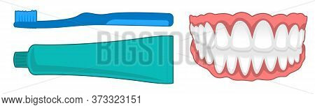Isolated Concept Of How To Brush Teeth, Female Mouth With Snow-white Teeth.